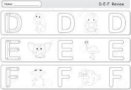 Free Alphabet Tracing Worksheets Cartoon Dog Doll Elephant Emu Frog And Fish Alphabet Tracing