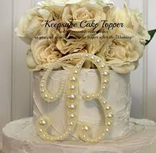 b cake topper pearl keepsake monogram wedding cake topper decorated with pearls