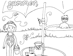 summer day on the beach coloring page for kids seasons and seasons