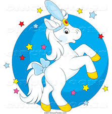 circus clipart of a white horse rearing over stars and a circle by