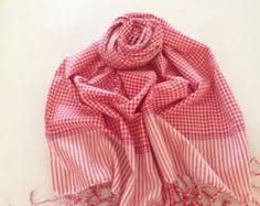 fabric scarf hand woven red and white scarf cotton scarf