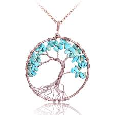 turquoise crystal necklace images Tree of life pendants many varieties my feng shui store jpg