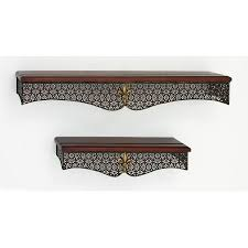 set of 2 metal wood wall shelf japanese accents home decor 93928