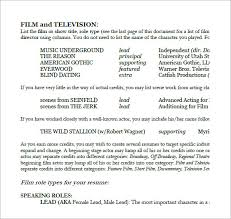 Movie Theatre Resume Sample Acting Resume 6 Documents In Pdf Word