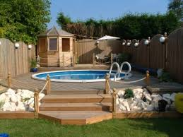 15 u0027 round above ground pool in decking outdoors pinterest