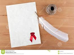 writing parchment paper quill pen and ink well on parchment paper stock photo image blank parchment paper seal quill and ink well royalty free stock image