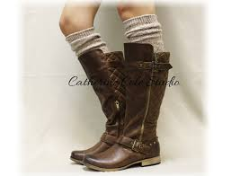 tweed oatmeal tall boot socks on luulla