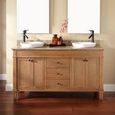 bathroom batural wood 48 inch double vessel sink vanity with