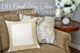 Diy Sofa Slipcover No Sew by The Cheerful Home Diy No Sew Greek Key Trim Pillow Covers