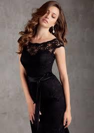 deep v back lace bridesmaid dress with satin sash style 696