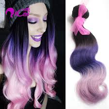 purple hair extensions new ombre 3 tone 1b pink purple human hair weave peruvian