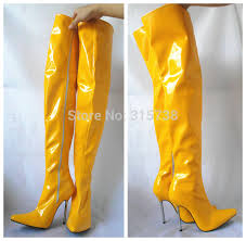 womens thigh high boots size 11 12cm 5 metal heels blue thigh high boots s pointed