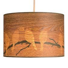 Wood Veneer Pendant Light Large Modern Bird And Branch Silhouette Wood Veneer Effect Ceiling