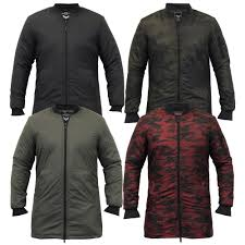mens jacket brave soul ma1 long line coat camo military padded