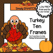 turkey ten frames low prep thanksgiving themed ten frame race