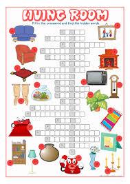 living room crossword puzzle worksheet free esl printable