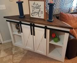 Corner Table Ideas by Corner Tv Console With Sliding Barn Doors All Ready For Delivery