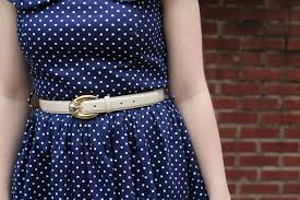 Navy Blue An by Navy Blue Polka Dot Swing Dress With Off White Belt And Heels
