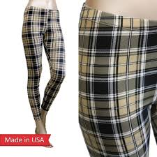 Beige Black Plaid Tartan Check Print Chic Fitted Leggings Tights