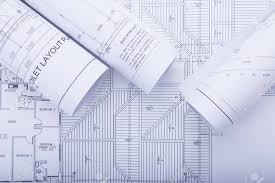 architect plan architect rolls and plans architectural plan project drawing stock