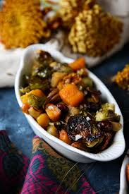 thanksgiving maple roasted brussels sprouts butternut squash