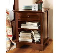 Nightstand Bookshelf Traditional Brown Stained Wooden Single Drawer Nighstand And