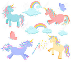 unicorn rainbow unicorn rainbow and clouds magic vector set unicorn sleeps
