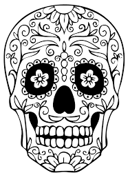 Halloween Coloring Pages Adults Day Of The Dead Have Them Realistically Shade The Skull And Then