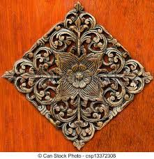 carving wood ornament of flower pattern thai style