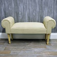 Bed Ottoman Bench 101cm French Vintage Style Cream Linen Fabric Upholstered Ottoman