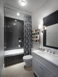 black hexagon tile bathroom slidding design installed on laminate