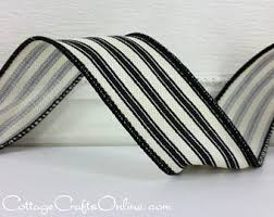 black and white wired ribbon black stripe ribbon etsy