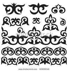 set kazakh asian ornaments patterns stock vector 619099346