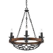 Traditional Chandelier Lighting 6 Light Wrought Iron Chandelier Black Finish For