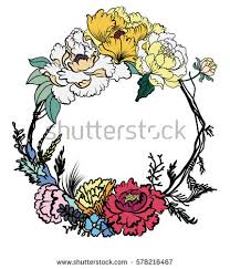 hand drawn peony flower vine circle stock vector 578216467