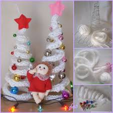 knit crochet i cord tree with ornaments