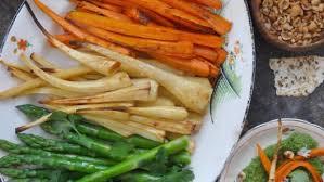 Green Root Vegetables - super green hummus and roast root vegetables