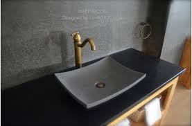 gray basalt stone bathroom sink concrete look tahiti moon
