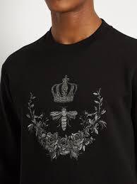 dolce u0026 gabbana bee crest embroidered cotton blend sweatshirt