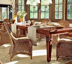 dining room dining table decor with rattan chairs also rustic