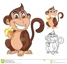 monkey holding banana cartoon character stock vector image 60181116