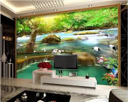 3d wall murals wallpaper for walls 3 d wallpaper sun forest falls 3d wall murals wallpaper for walls 3 d wallpaper sun forest falls cranes background wall room decor custom mural photo painting in wallpapers from home