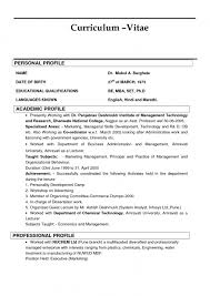 Profile On Resume Examples by Curriculum Vitae Sample Profile
