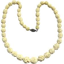 flower bead necklace images Vintage faux ivory carved bone flower bead necklace sold ruby lane jpg