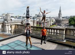 london uk 22nd may 2017 members of the canadian circus troupe