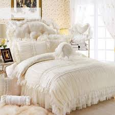 Quilted Duvet Cover King Beige Lace Princess Quilt Duvet Cover King Queen 4 100 Cotton
