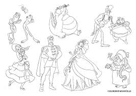 walt disney coloring page of prince naveen and princess tiana from
