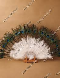 peacock feather fan style white feather and peacock feather fan party