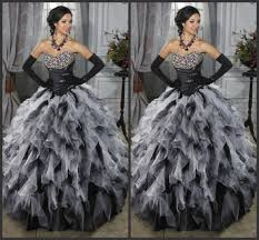 black and white ball gown prom dresses gothic sweetheart neckline