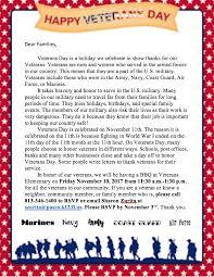 Thank You Letter Veterans veterans day bbq veterans elementary school